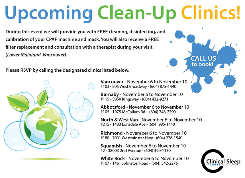 Upcoming Clean-Up Clinics – November 6 to 10, 2017