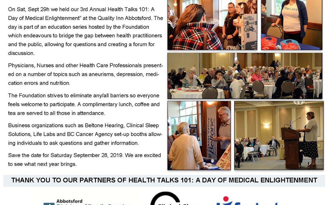 Fraser Valley Health Care Foundation 3rd Annual Health Talks 101: A Day of Medical Enlightenment